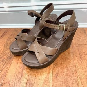 Kork Ease Brown leather suede Denica Wedge sandals